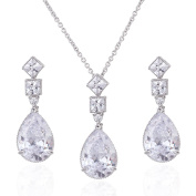 Wordless Love Rhodium Plated Prong CZ Women's Party Teardrop Earrings and Necklace Jewellery Set