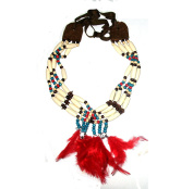 4 row Choker Collar Necklace Native American Bone Style with real Feathers