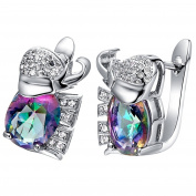 KnSam Women Platinum Plate Pierced Stud Earrings Colourful Elephant Crystal Rhinestone [Novelty Earrings]