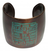 """Bronze Patina Tone Metal """"Count Your Many Blessings"""" Quote Cuff Bracelet"""