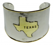 Silver and Gold Tone Metal Texas State Cuff Bracelet Western