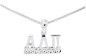 Alpha Delta Pi Sorority Clear Crystal Rhodium Necklace Jewellery Sister Lil Gift