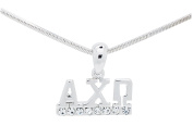 Alpha Chi Omega Sorority Clear Crystal Rhodium Necklace Jewellery Sister Lil Gift