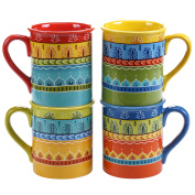 Certified International Valencia Mugs (Set of 4), 470ml, Multicolor