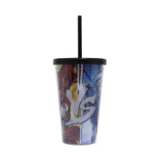 Silver Buffalo FL02087 DC Comics The Flash vs. Capitan Plastic Cold Cup with Lid and Straw, 470mls