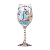 Lolita from Enesco Anchor's Away Wine Glass, 23cm , Multicolor