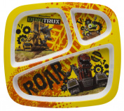 Zak! Designs 3 Section Plate featuring Dinotrux Graphics, Break-resistant and BPA-free plastic