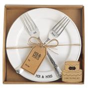 Mud Pie Mr. & Mrs. Plate & Fork Set, White