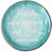 """Pavilion Gift Company Emmaline """"Family Where Life Begins and Love Never Ends"""" Ceramic Decorative Plate, 18cm , Teal"""