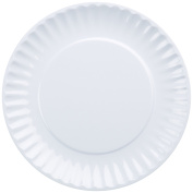 DII Melamine Resusable Party or Picnic Plate, White, Set of 12