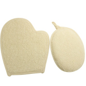 Kiloline Natural Ramie Fibres Bath Glove & Pad 2in1 Shower Sponge Scrubber Brush Great for Exfoliating Deep-cleaning Relieve Itching Close Skin Body Face