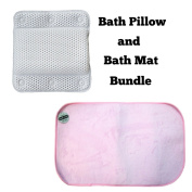 Luxury Bath Pillow & Bath Mat set - Home Spa Head and Neck Support Pillow with Microfiber Bath side Mat
