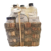 Vanilla Bath Gift Basket Set in 205ml shower gel, 150ml body lotion, 260ml bubble bath, 110ml body scrub, 80g bath salt, 80g soap