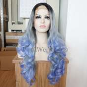 Fashion Glueless Ombre Grey To Blue Body Wave Synthetic Lace Front Wig With Dark Roots Heat Resistant