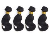 RunFeng 25cm Brazilian Virgin Human Hair Extension Weave 4 Bundles 400g Total, Natural black Body Weave