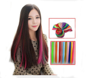 Flyusa 8 Pcs 50cm Coloured Colourful Clip On In Hair Extension Beauty Salon Supply