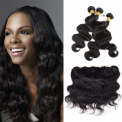 CCOLLEGE Hair Grade 8A Brazilian Human Virgin Hair Body Wave 3 Bundles Lace Frontal 100% Remy Human Hair Brazilian Virgin Hair Extensions