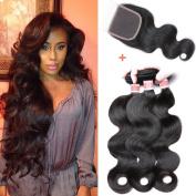 YIZE Hair Brazilian Body Wave 3 Bundles with Lace Closure Free Part 7A Virgin Human Hair Weave Natural Black Colour