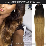 Beauties Factory 200gram Full Thick Ombre Clip in Remy Human Hair Extension 50cm Double Wefted