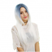 DAYISS Women's Long Straight Curly Full Wig Blue White Cosplay Heat Resistant Halloween