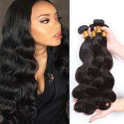 CCOLLEGE Hair 4 Bundles Peruvian Body Wave Human Hair Peruvian Virgin Hair Extensions Virgin Human Hair Unprocessed Hair Weave Natural Colour