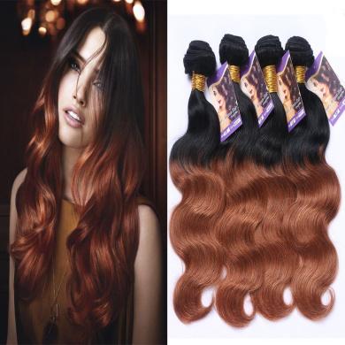 Kapelli Hair (TM) 6A Ombre Hair Extensions Ombre Brazilian Body Wave Virgin Hair 2 Tone 1B#30# Human Hair Weave 4 Bundles (46cm 50cm 60cm 60cm )