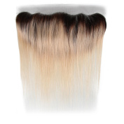 Beauty7 Dip Dye Ombre 33cm x 10cm Free Parting 100% Real Human Hair Lace Frontal Closure Straight 2 Tones Natural Black to Bleach Blonde #T1B/613