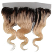 Beauty7 Dip Dye Ombre 33cm x 10cm Free Parting 100% Real Human Hair Lace Frontal Closure Body Wave 2 Tones Natural Black to Bleach Blonde #T1B/613