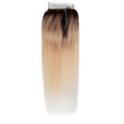 Beauty7 Dip Dye Ombre 10cm x 10cm Free Parting 100% Real Human Hair Lace Top Closure Straight 2 Tones Natural Black to Bleach Blonde #T1B/613