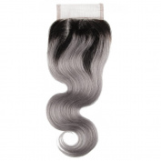 Beauty7 Dip Dye Ombre 10cm x 10cm Free Parting 100% Real Human Hair Lace Top Closure Body Wave 2 Tones Natural Black to Smoky Grey #T1B/Grey