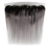 Beauty7 Dip Dye Ombre 33cm x 10cm Free Parting 100% Real Human Hair Lace Frontal Closure Straight 2 Tones Natural Black to Smoky Grey #T1B/Grey