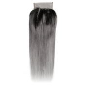 Beauty7 Dip Dye Ombre 10cm x 10cm Free Parting 100% Real Human Hair Lace Top Closure Straight 2 Tones Natural Black to Smoky Grey #T1B/Grey