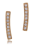 Women's High Fashion Vertical Bar Minimal Stud Earrings Plated in Goldtone in Gift Box