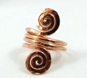 Elaments Design Solid Copper Ring Four Loop Fibonacci Design Hand Hammered Size 8