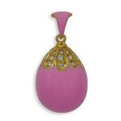 Pink Teardrop Royal Russian Faberge Egg Pendant Necklace 48cm