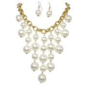 Cascading Simulated Pearl Beaded Gold Tone Statement Necklace Earring Set