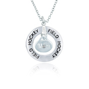 Field Hockey Mom Message Ring Necklace