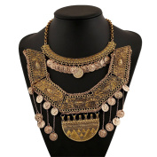 Fashion Tribal Style Gold Tone Ancient COINS Tassel Charm Necklace Collar Bib for Women