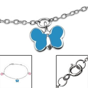 Children's Silver 3 Butterfly Bracelet with Epoxy