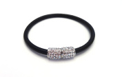 HAMPTON GEMS-BLACK/SILVER LEATHER BRACELETS WITH PAVE CRYSTALS- MAGENTIC CLOSURE. BLACK/GOLD, grey/SILVER, AND TAN/GOLD