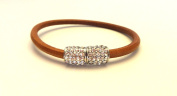 HAMPTON GEMS-TAN/SILVER LEATHER BRACELETS WITH PAVE CRYSTALS- MAGENTIC CLOSURE. BLACK/GOLD, grey/SILVER, AND TAN/GOLD