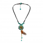 Passion Flower Reconstructed Turquoise Stone with Feather Cotton Rope Necklace