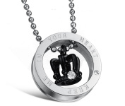 Keep Me in Your Heart Titanium Necklace Round Circle with Crown Couple Necklace