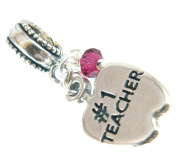 #1 Teacher w Rose Crystal Sterling Silver Dangle Charm