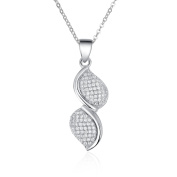 Sterling Silver Simulated Diamond Twisted Micro Pave Pendant Necklace Set