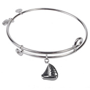 SOL 230074 Sailboat, Bangle Sterling Silver Plated