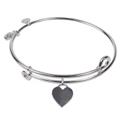 SOL 230069 Heart Tag, Bangle Sterling Silver Plated