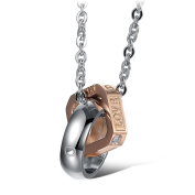 "Moandy Jewellery Stainless Steel Lover's Fashion Necklace ""Love Life"" Ring Form Pendant Chain Cz"