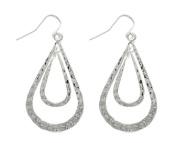 Jewellery Trends Silvertone Pewter Double Teardrop Long Textured Dangle Earrings