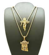 New ANGELS & JESUS Micro Pendant 60cm & 80cm Box Chain Small Necklace Set RC133G